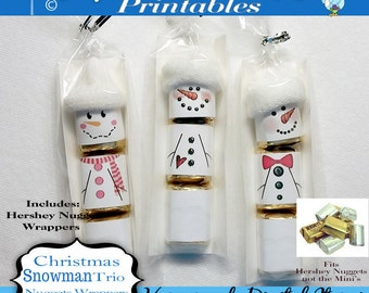 Hershey Nuggets Candy Bar Wrapper, Christmas - Snowman trio, for the Nuggets, party favor,printable, download, personal use only