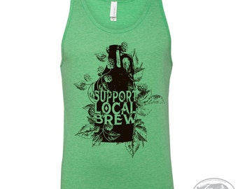 Unisex Local BREW Tri Blend Tank Top -hand screen printed xs s m l xl xxl (+ Colors) workout