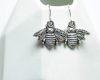 Silver Bee Charm Earrings -- Sterling Silver Earring Hooks -- Small Bumblebee Drops -- UK Shop
