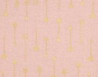 Michael Miller Arrow Flight Metallic Arrows Blush Fabric by 1 yard 100% cotton
