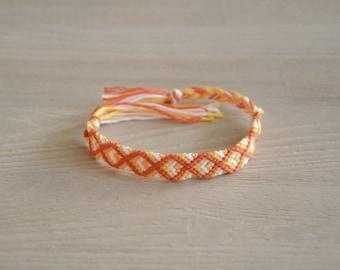 Friendship Bracelet, friendship bracelet, orange white yellow, handmade, woven