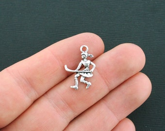 8 Field Hockey Charms Antique Silver Tone - SC328