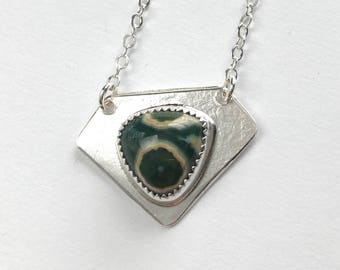 Ocean Jasper and Sterling Silver Geometric Pendant Necklace - Ocean Jasper Jewelry - Handmade Silver and Stone Jewelry - One of a Kind