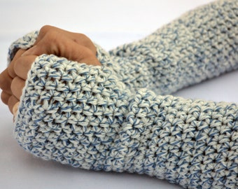 Blue specks fingerless gloves, arm warmers, texting gloves, crochet gloves, wrist warmers, hand warmers, mittens, warm gloves, winter gloves