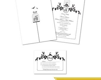 Faire-part de mariage bricolage imprimable & RSVP Custom - oiseaux d'amour