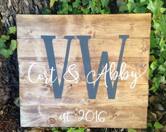 Custom Monogram Sign, Sign with initials, hand painted, wood sign, wedding gift, engagement gift, wedding decor, housewarming gift,