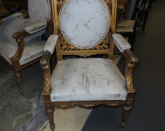 Rare Antique Pair Of Louis XVI Gilt French Fauteuil Chairs