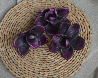 Purple Orchid Blooms DIY Cake Toppers Decoration Flowers Real touch Flowers for Silk Wedding Bridal bouquets