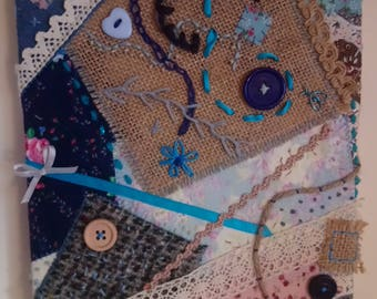 Embroidered Patchwork Textile Art Canvas