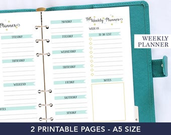 Coworker gift, weekly agenda 2018, a5 planner pages, planner refill, agenda organizer, a5 planner inserts, gift mom, gold weekly planner