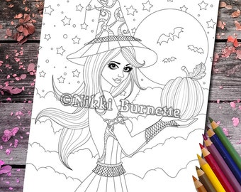Coloring Page - Digital Stamp - Printable - Fantasy Art - Stamp - Adult Coloring Page - ADRIANNA - by Nikki Burnette - 2 Versions