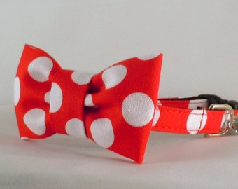 Cat Collar or Kitten Collar with Flower or Bow Tie  - Red and White Polka Dots