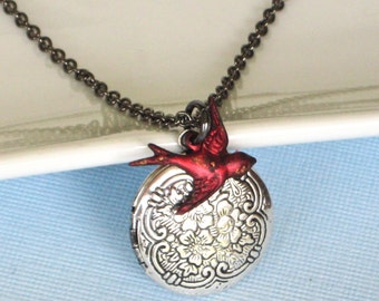 Red Bird Locket Necklace, Silver Locket, Small Locket, Cardinal, Keepsake Jewelry