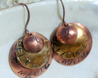 "Handstamped, Antiqued Copper, Antiqued Brass ""I Believe in Magic"" Earrings,Jewelry"