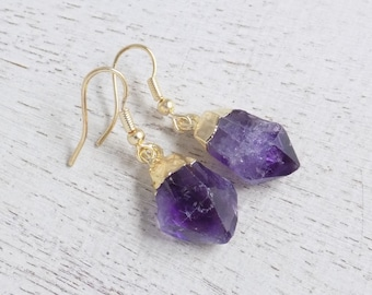 Amethyst Earrings, Raw Amethyst Earrings, Natural Stone Earrings, Purple Gemstone Earrings, Dangle Clip-on Earrings, Rustic Earrings, Y4-03