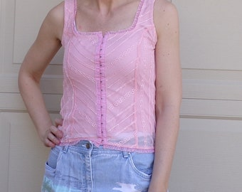 1990's CORSET STYLE TOP tank 90's lacy S M
