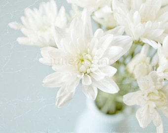 White Chrysanthemum Photography -  Spring -  Flower Print -   Soft Pastel Tones  - Blue and White -  Fine art for your home