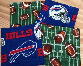Buffalo Bills Quilted Coasters, Set of 4, Reversible