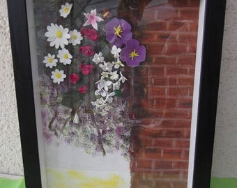 Frame window floral wall waterfall modeled in cold porcelain flowers