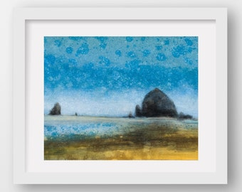 CANNON BEACH BLUE, limited edition giclee art print, Haystack Rock, Cannon Beach, Oregon Coast art, coastal art