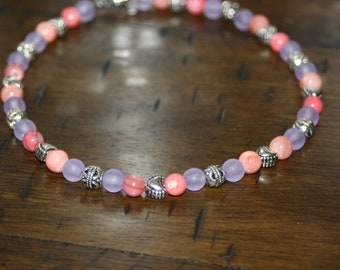 Spring Pink and Purple, with a Beaded Heart Accent Anklet, Spring Anklets, Summer Anklets, Bright Color Anklets, Anklets, Silver Anklets