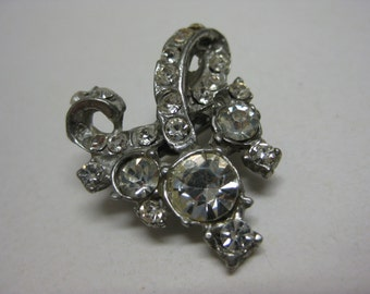 Rhinestone Brooch Clear Silver Vintage Pin