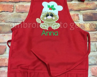 Kids Christmas Apron, Gingerbread Girl Child's Apron, Child's Christmas Apron, Toddler Holiday Apron