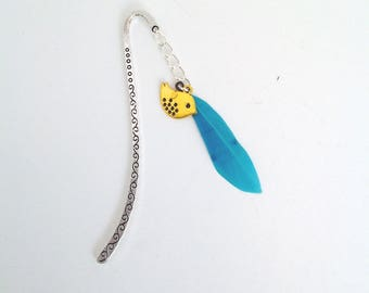 Small silver bird and feather bookmark