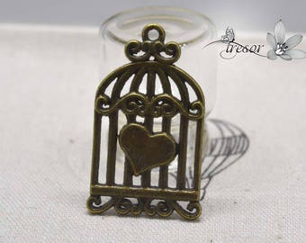Set of 6 QDW239 pendant, bronze, Birdcage