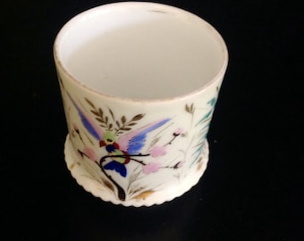 Toothpick or Match Holder with Painted Bird Design