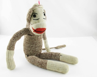 Sock Monkey With Great 'Stocking Cap', Face, Ears, Hands, Legs and Black Button Eyes  - Vintage 1950s -  Stuffed With Nylon Hosiery