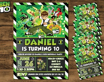 DIGITAL COPY Personalised Ben 10 Invitations/Invites Boy Girl