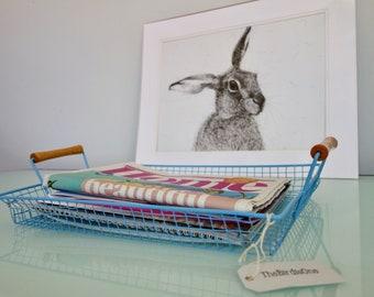 Large Wire Coated Vintage Tray - Bright Blue Tray With Wood Handles - Vintage Storage Basket - Storage - Metal Baskets