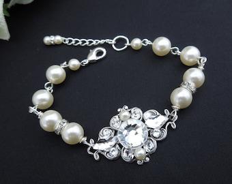 bridal pearl bracelet, rhinestone Bracelet, Statement Bridal Bracelet, Wedding Rhinestone Bracelet, swarovski crystal bracelet, GIULIANA
