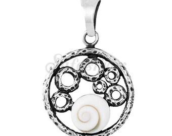 Round Shiva Eye Silver Pendant