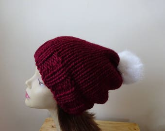 Knit Slouch Hat Faux Fur Pompom Warm Acrylic Winter Hat in Burgundy with White Pompom - Ready to Ship - Gift for Her