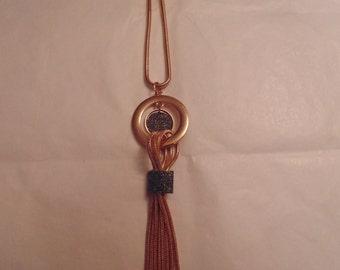 Long Rose Tone Tassel Necklace