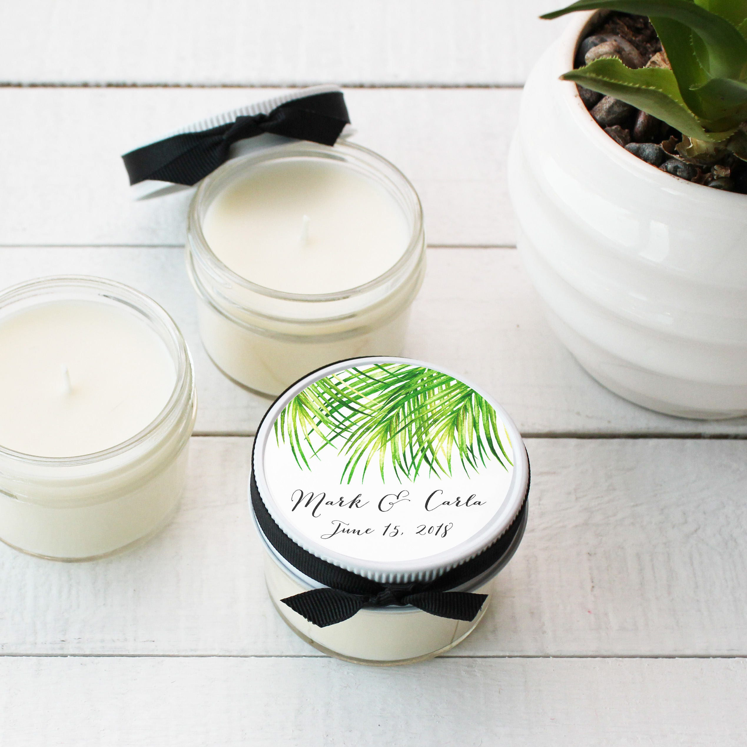 Wedding Favor Candles - Tropical Label Design | Soy Candle Wedding ...