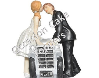 Wedding Cake Topper - Bride and Groom - 4Ever Just Married Car - Polyresin Decoration