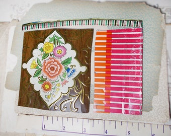 Salvaged Tin Cuts - 1 Ounce - 3 Pieces - Mixed Stripes & Floral - Smoothed Edges - Brown, Orange, White - Raw Tin 4 Jewelry, Crafts - no. 11