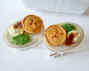 Homemade Pie with Peas and Mashed Potato Cufflinks - Miniature Food Art Jewelry Collectable - Schickie Mickie Original 100% Handmade