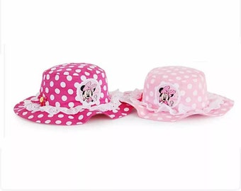 Disney Lovely Minnie Lace Baby Girl Sun Hats Toddler girl infant Soft Cotton Summer Outdoor Breathable Beach Minnie Mouse Hats