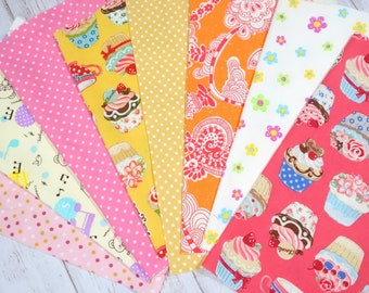 """Girls fabric scrap including bear cake and strawberry   print 25 cm by 25   cm or 9.6 """" by 9.6""""  set of 8 pieces sc07"""