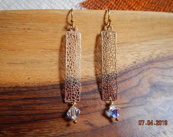 Gold-tone Rectangular Filigree/Iridescent Swarovski Bi-cone Crystal Dangle Earrings