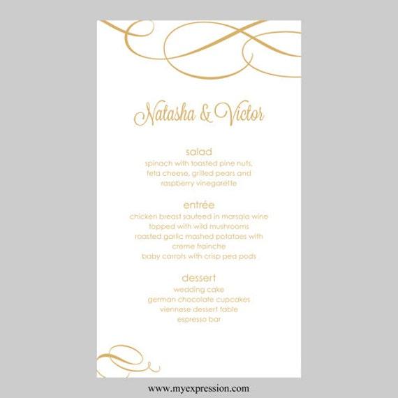 Hochzeit Menü Karte Vorlage kalligraphischen Polka Gold