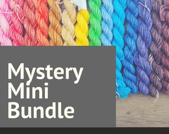 Mystery Mini Skein Sock Yarn | Random Hand Dyed Yarn Mini Skein Set | 5 x 100 yard superwash minis | Knitting Yarn | Made in Canada