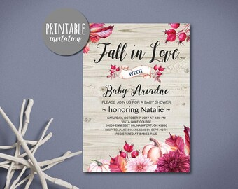 Fall Baby Shower Invitation Fall in love Baby Shower Invitation Printable, Rustic Baby shower Invitation Girl baby shower invitation Autumn