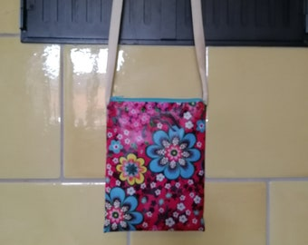 Small shoulder bag - fabric coated with flowers