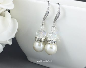 Dangle Earrings Pearl Earrings Cubic Zirconia Bridesmaid Gift Jewelry for Her Ivory Earrings Bridal Jewelry Gift for Moms Wedding Earrings