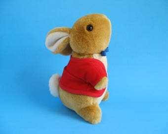 Vintage Peter Rabbit Stuffed Animal Toy by Eden Beatrix Potter 1980s Toy Red Jacket Blue Bow tie